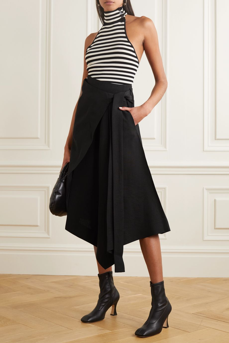 Petar Petrov Roxane asymmetric pleated woven wrap skirt