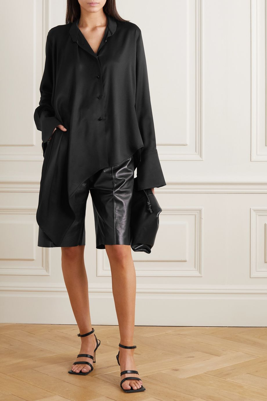 Petar Petrov Cora asymmetric stretch-silk satin shirt