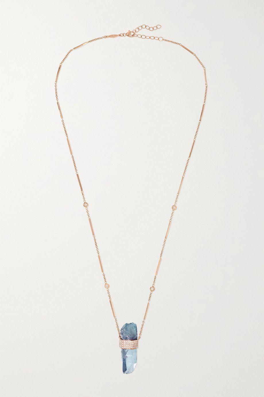 Jacquie Aiche 14-karat rose gold quartz and diamond necklace
