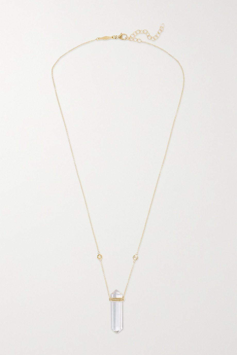 Jacquie Aiche 14-karat gold, quartz and diamond necklace