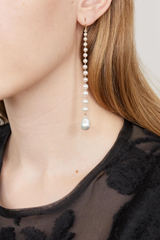 Mizuki Ohrringe aus 14 Karat Gold mit Diamanten und Perlen