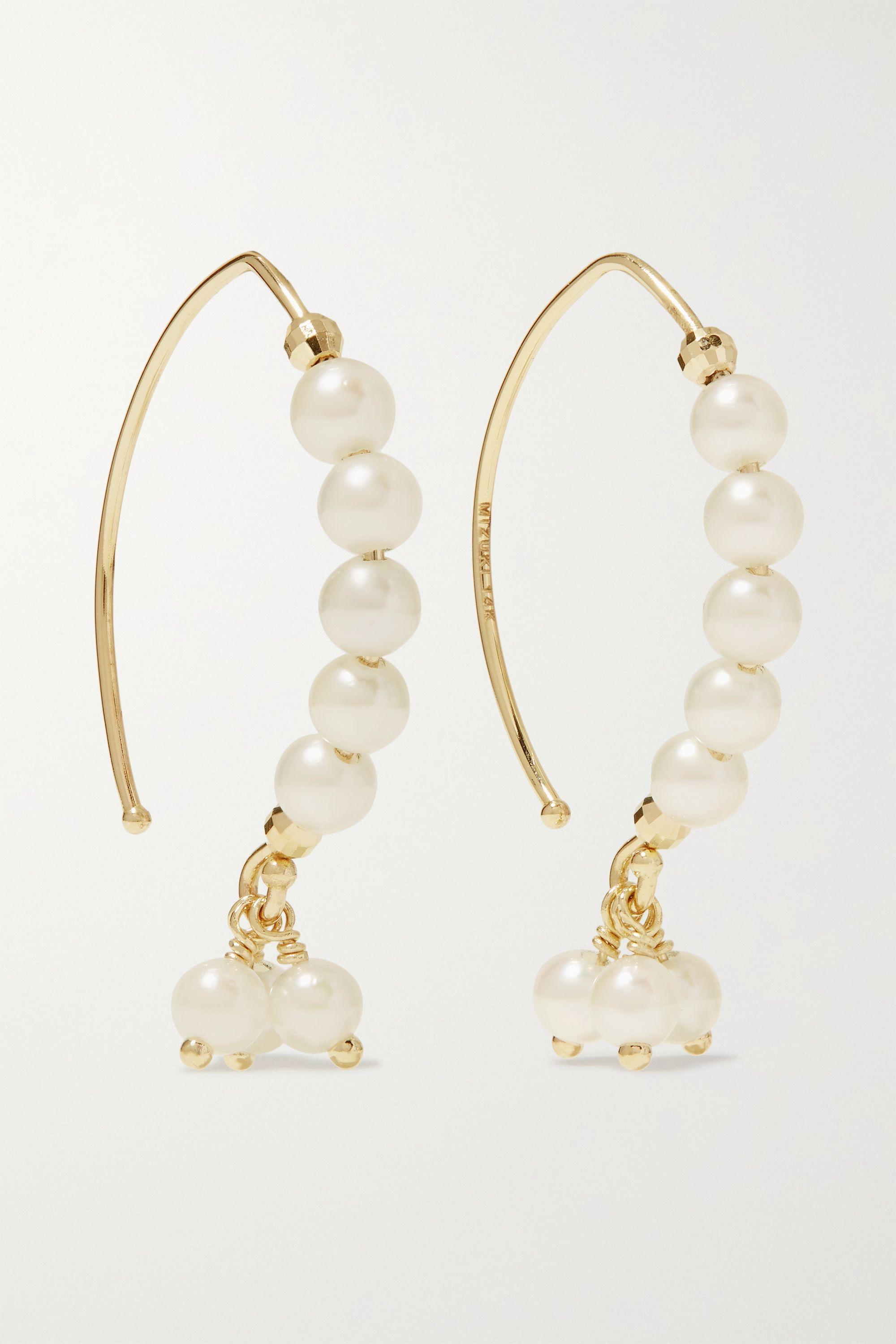 Mizuki Boucles d'oreilles en or 14 carats (585/1000) et perles