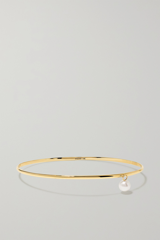 Mizuki 14-karat gold pearl bangle