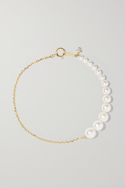 Mizuki 14-karat gold, pearl and diamond bracelet