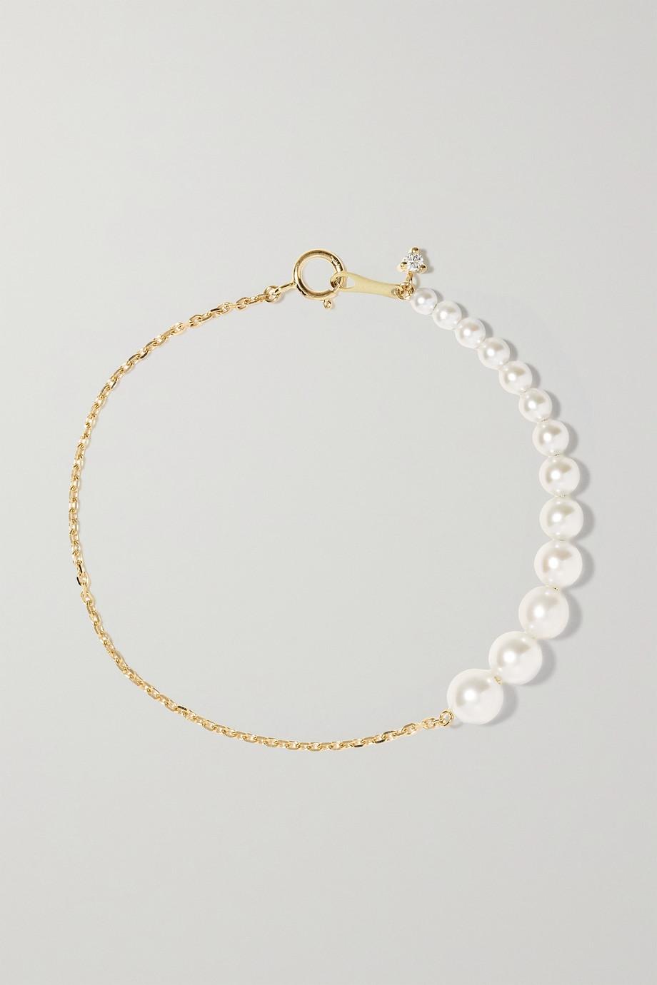 Mizuki 14K 黄金、珍珠、钻石手链