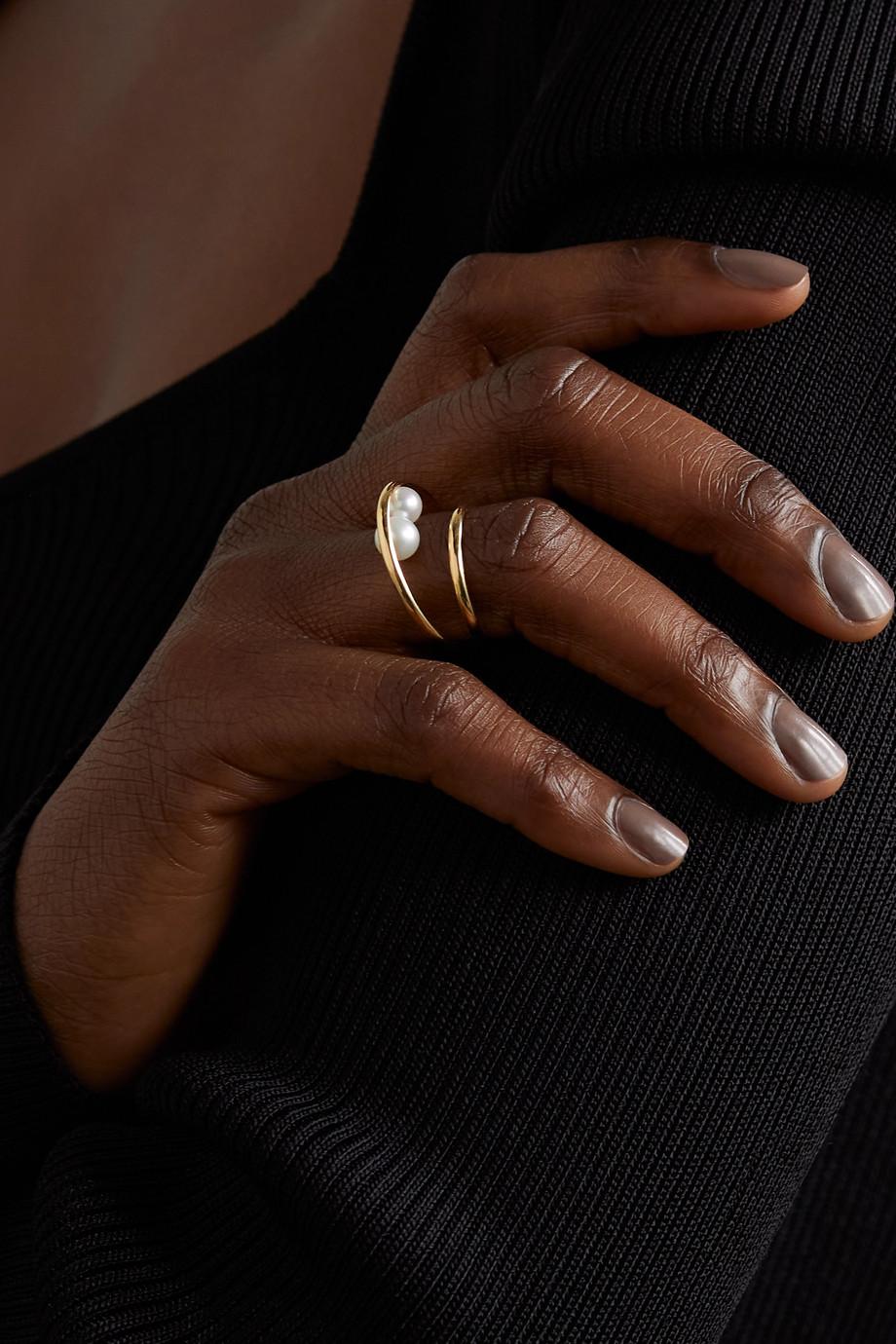 Mizuki 14-karat gold pearl ring
