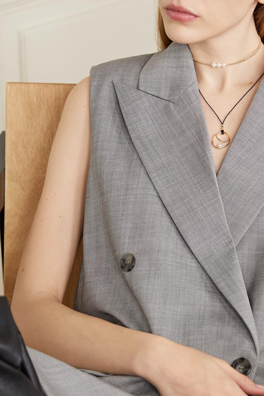 Mizuki 14-karat gold, silk and pearl necklace