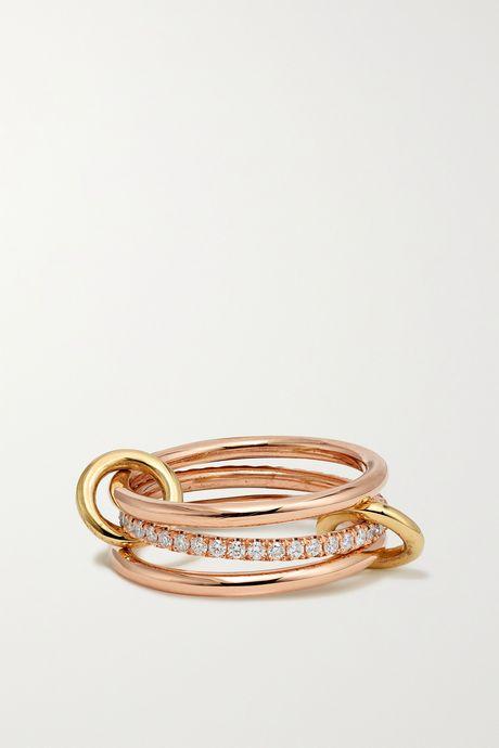 Rose gold Sonny set of three 18-karat yellow and rose gold diamond rings | Spinelli Kilcollin Vv02d9