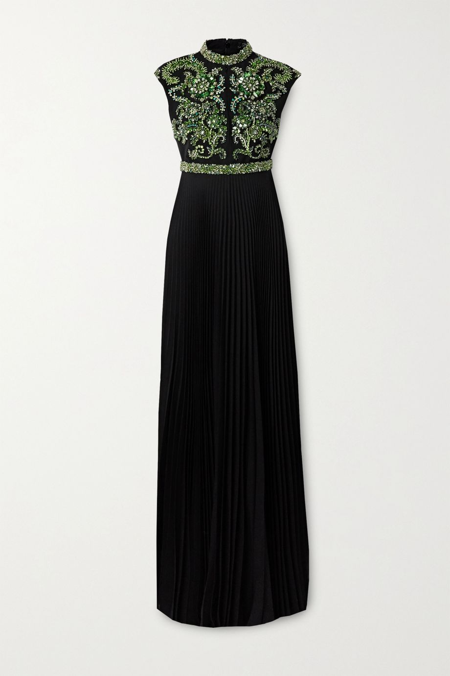 Andrew Gn Pleated crystal-embellished silk-blend crepe gown