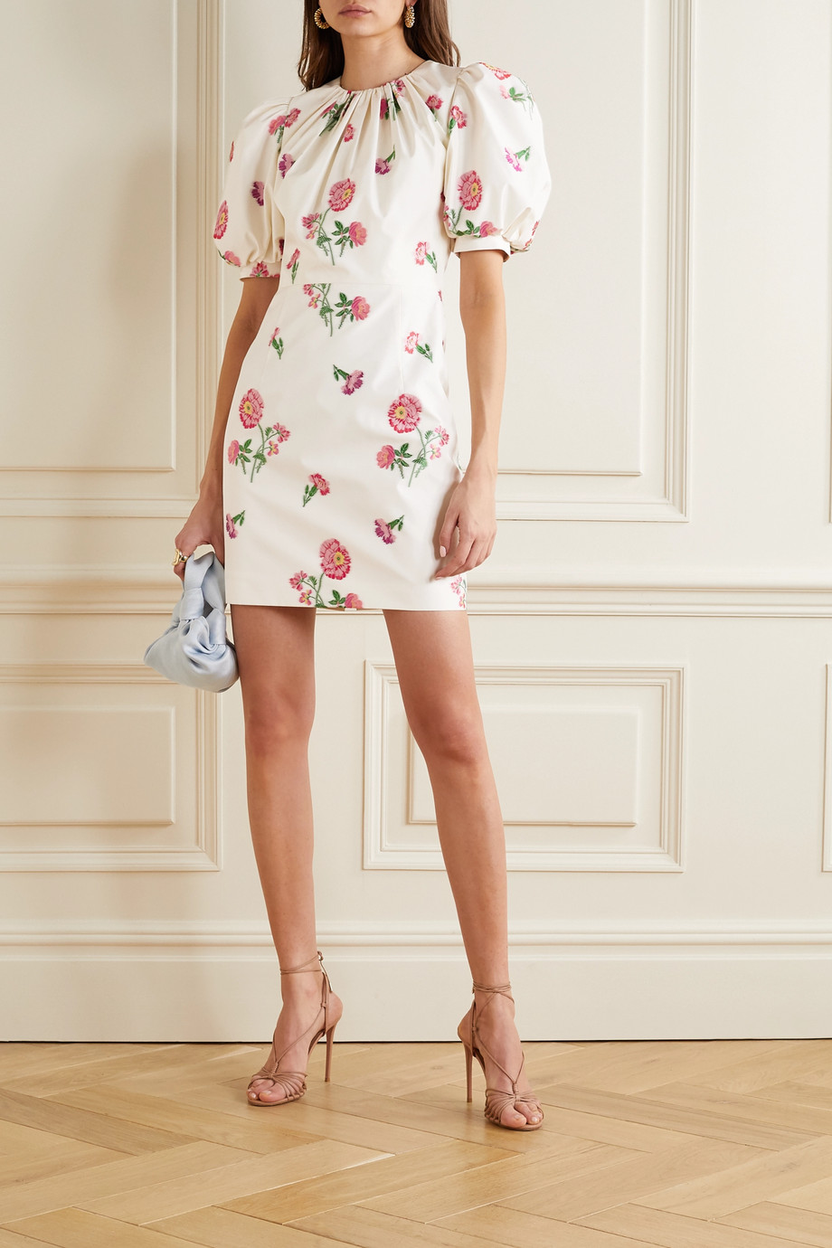 Andrew Gn Gathered floral-jacquard mini dress