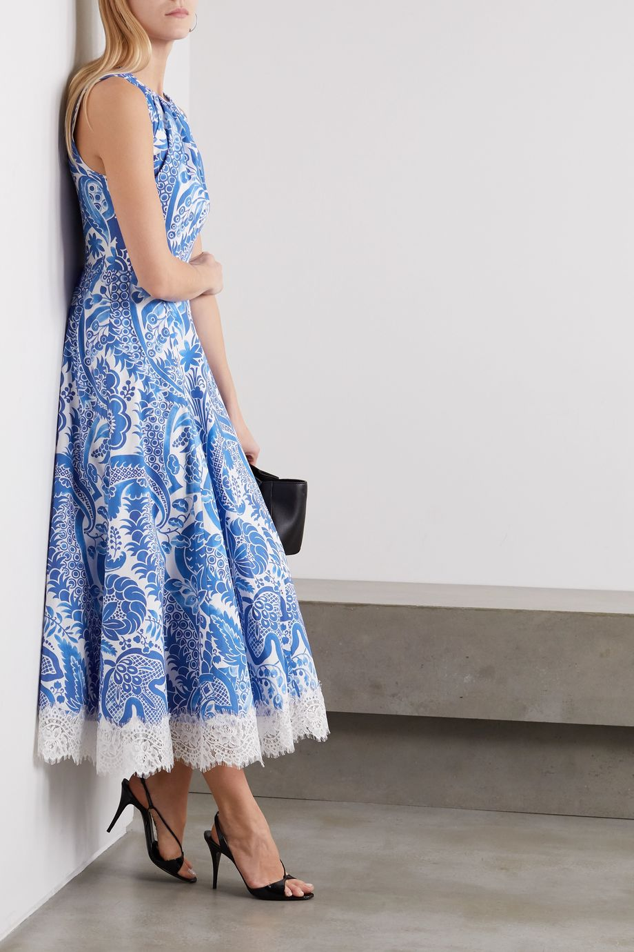 Andrew Gn Lace-trimmed floral-print cotton-poplin dress
