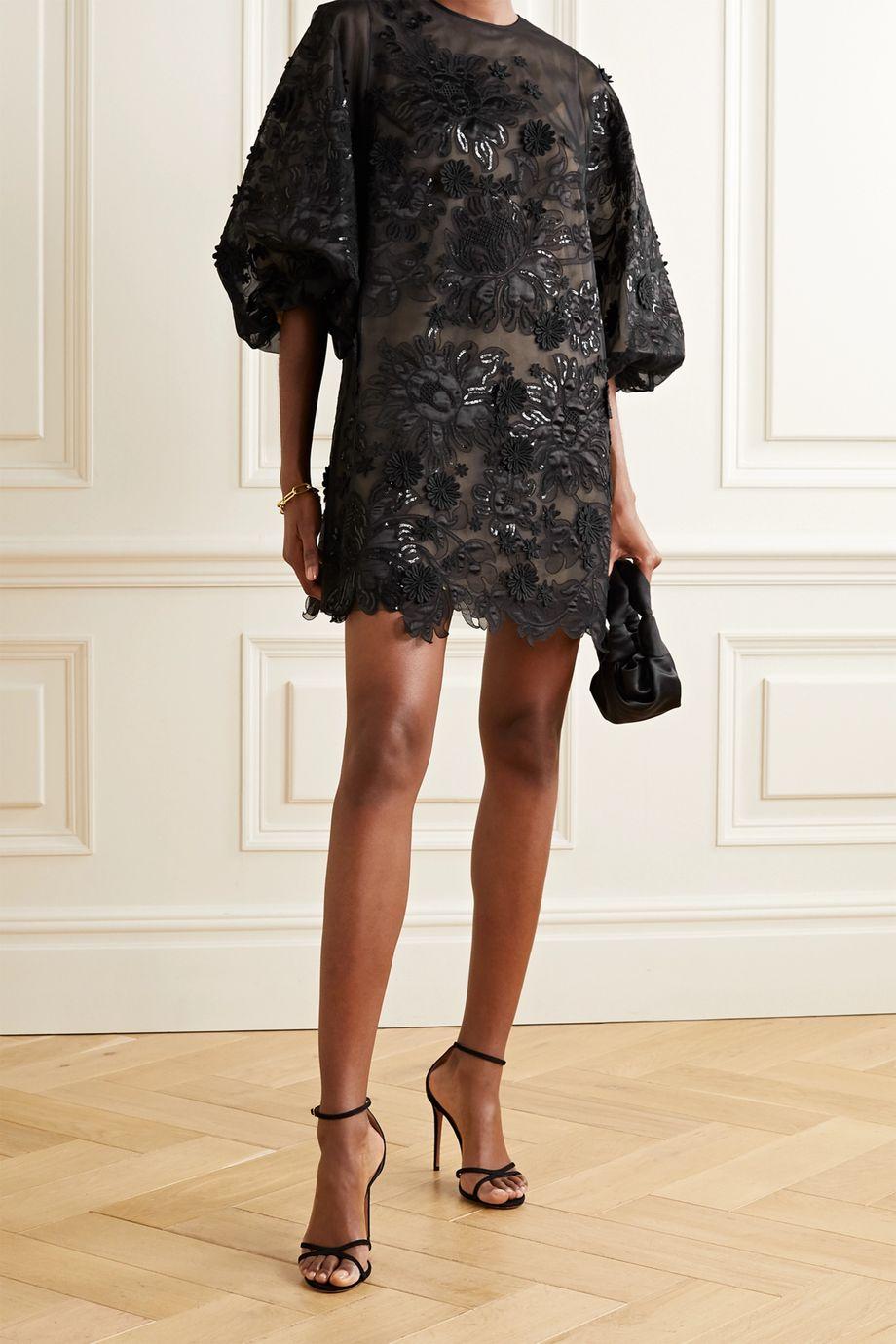 Andrew Gn Appliquéd embellished silk-blend tulle mini dress