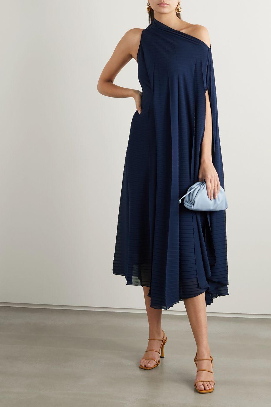 Roland Mouret Ordesa one-shoulder pleated crepe dress