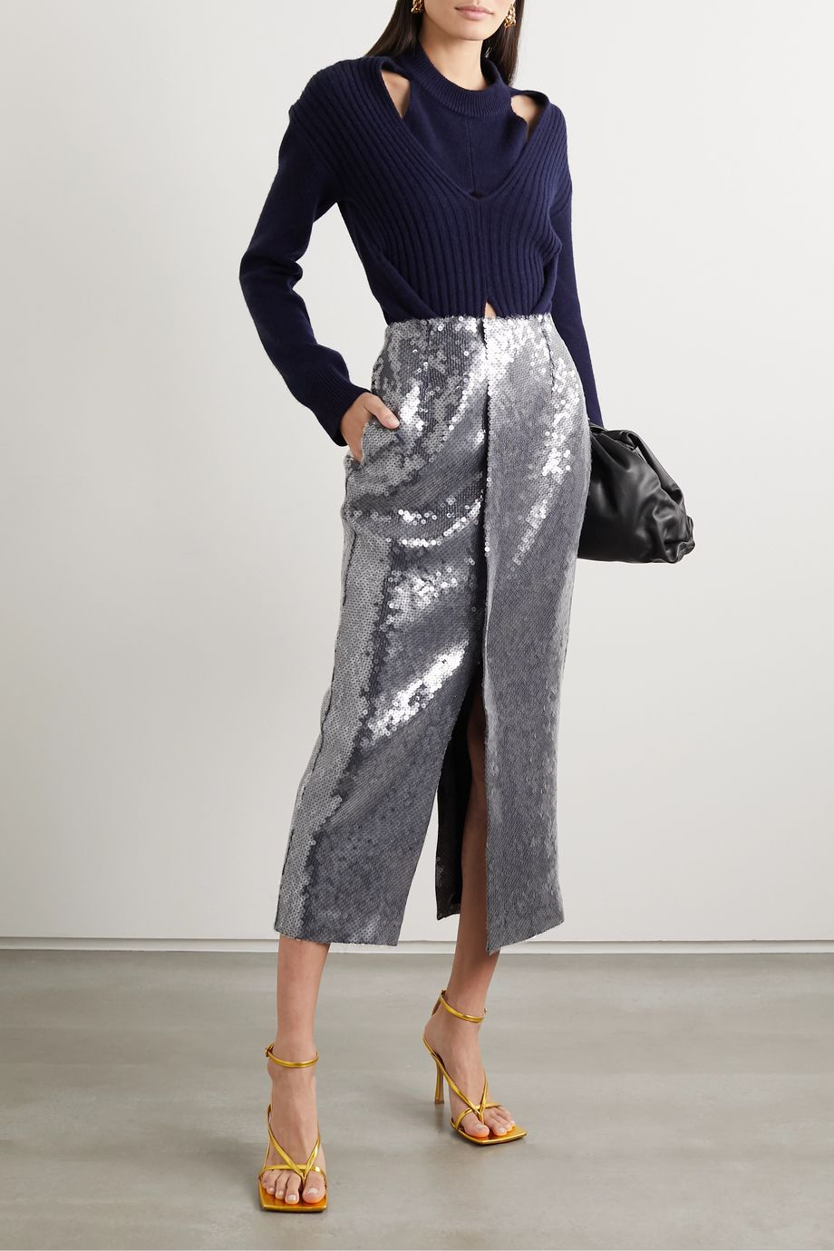 Roland Mouret Nobel sequined jersey midi skirt