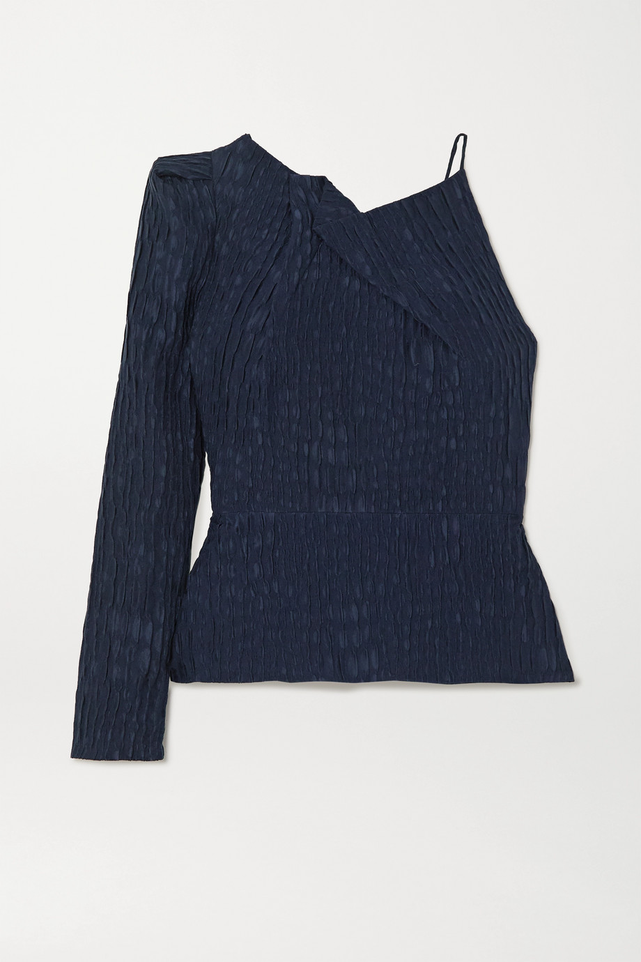 Roland Mouret Bryant one-sleeve gathered silk-jacquard top