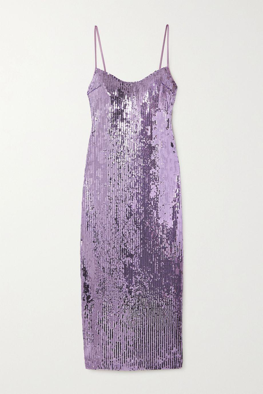 Galvan Berlin open-back sequined tulle midi dress