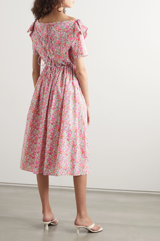 Horror Vacui Phillipine ruffled pintucked floral-print cotton midi dress