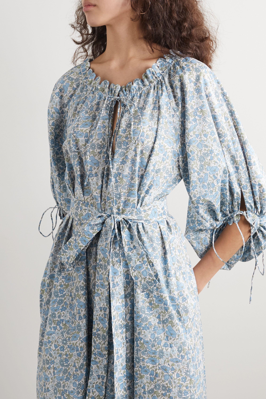 Horror Vacui Otti belted scalloped floral-print cotton-poplin midi dress
