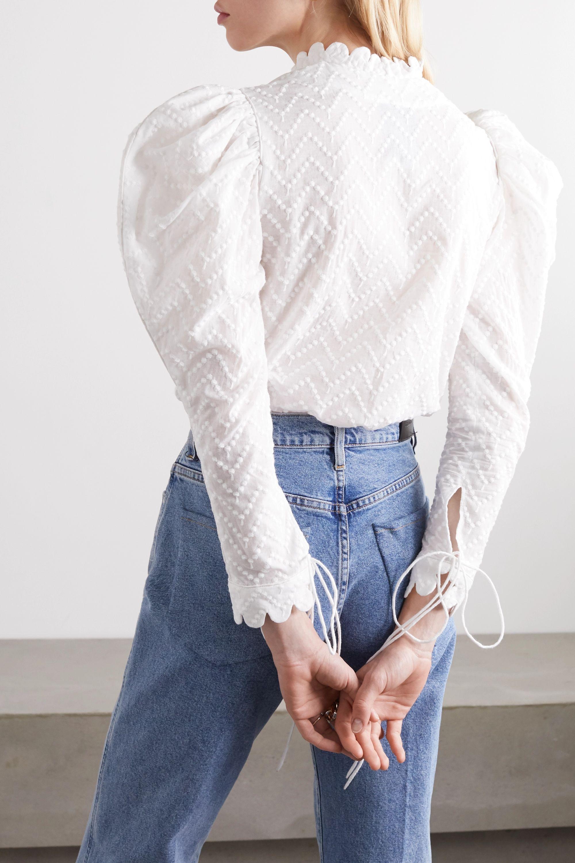 Horror Vacui Frieda ruffled Swiss-dot cotton blouse