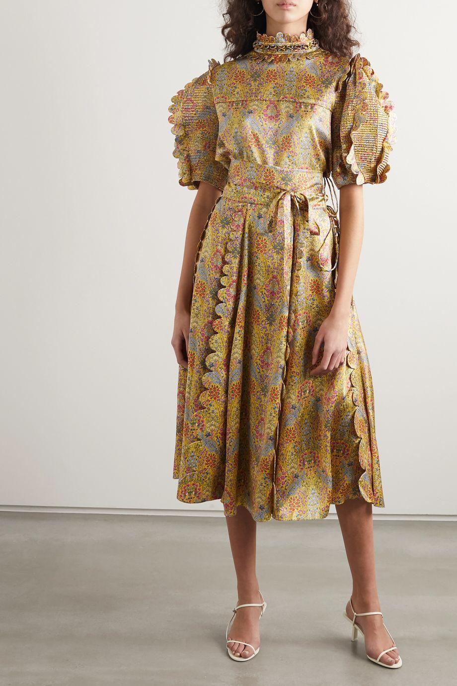 Horror Vacui Sophie scalloped floral-print silk-satin midi skirt