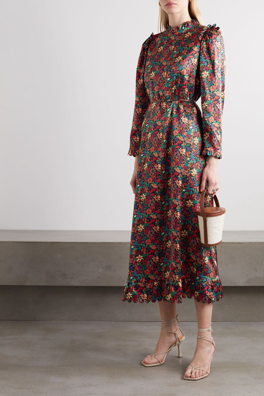 Horror Vacui Vestia scalloped floral-print silk-satin midi dress