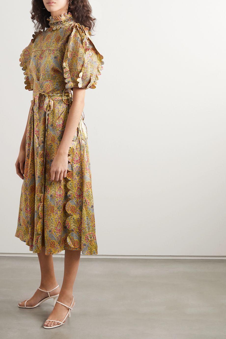 Horror Vacui Elinor scalloped pinctucked floral-print silk-satin blouse