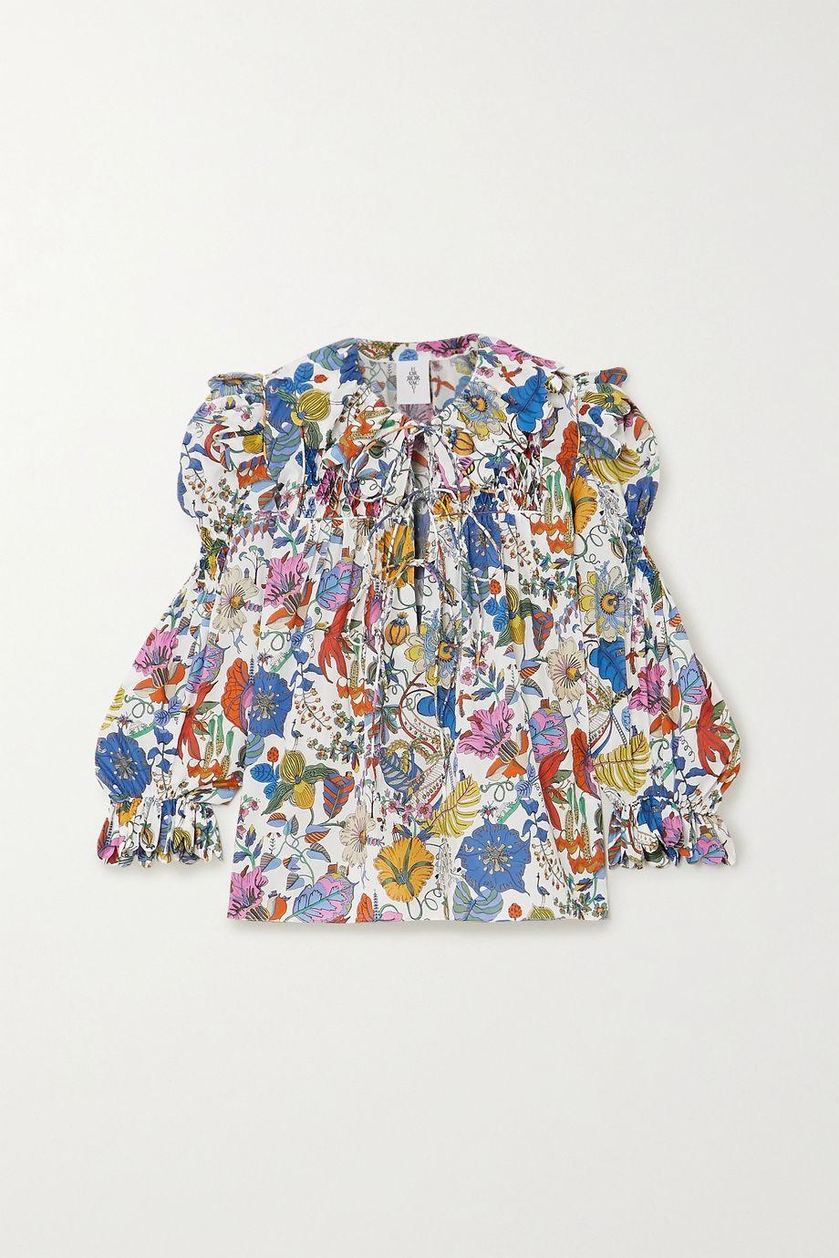 Horror Vacui Defensia Bluse aus Baumwolle mit Blumenprint und Wellenkanten