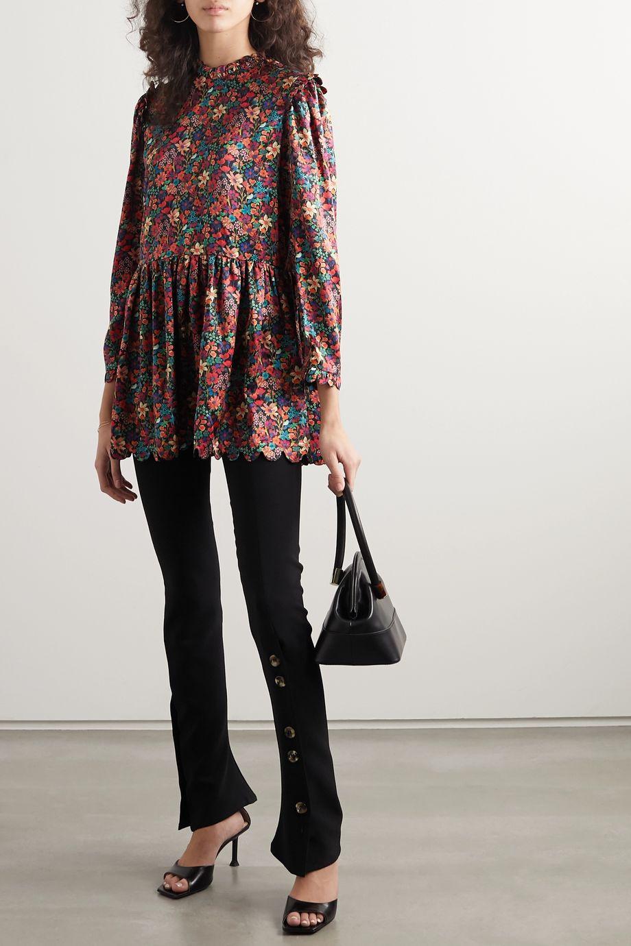 Horror Vacui Mia scalloped floral-print silk tunic