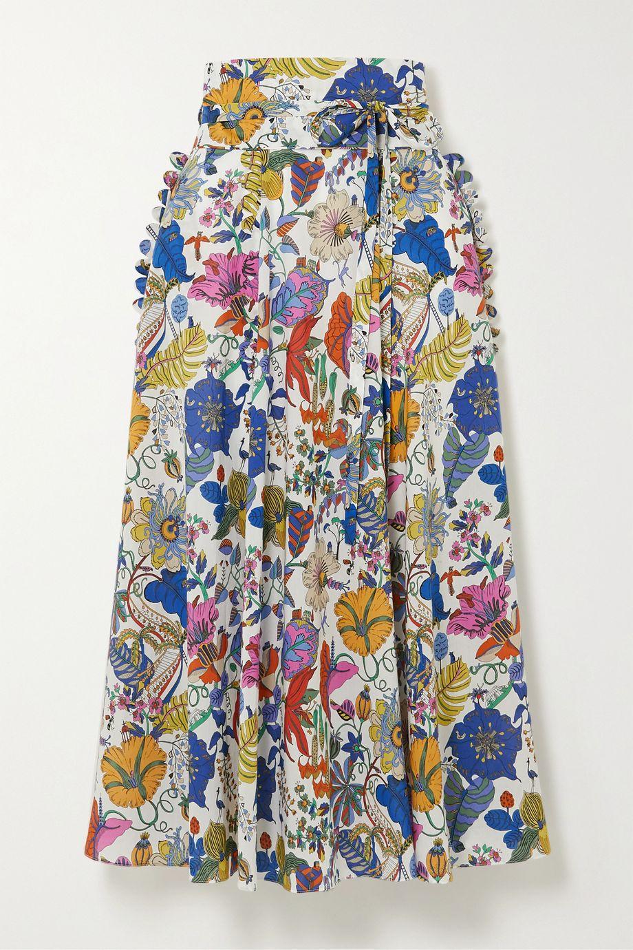 Horror Vacui James scalloped floral-print cotton midi skirt