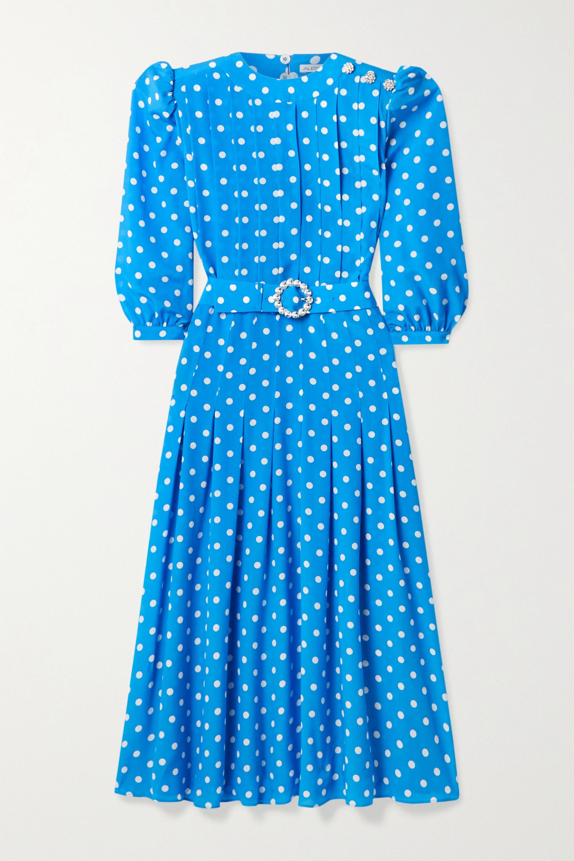 Alessandra Rich Pintucked embellished polka-dot silk crepe de chine midi dress