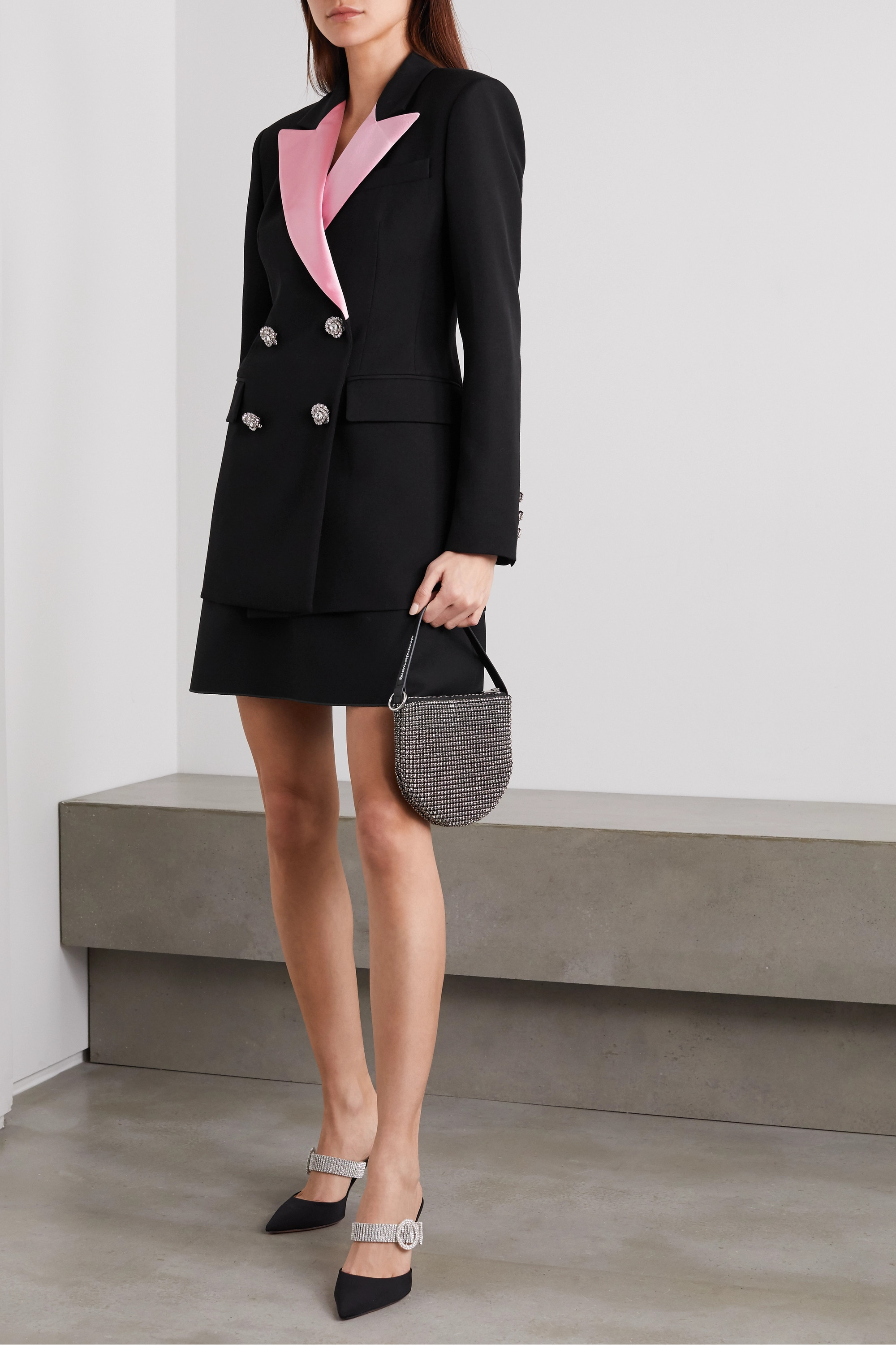 Alessandra Rich Double-breasted crystal-embellished wool-crepe blazer