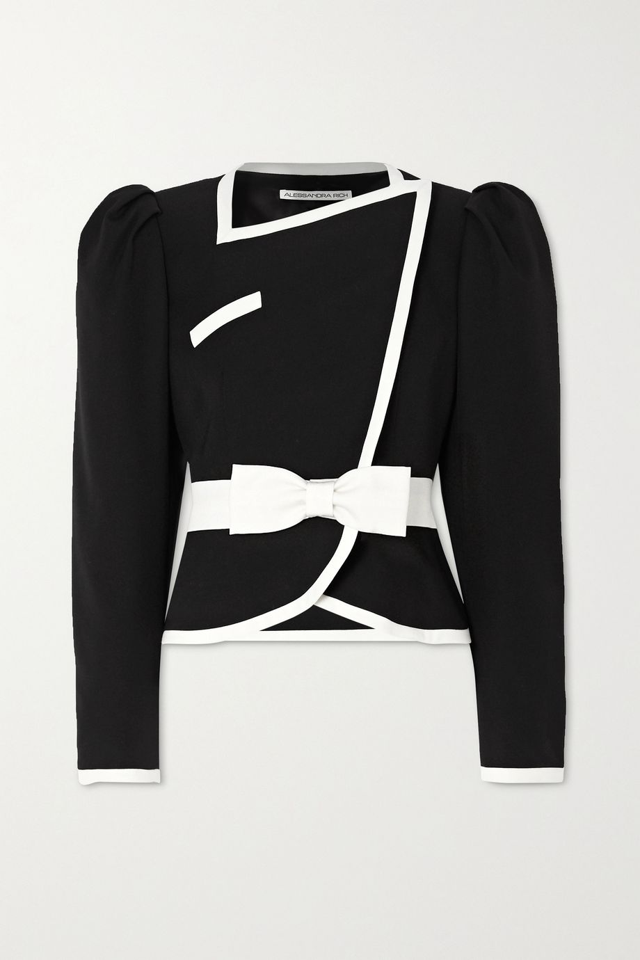 Alessandra Rich Double-breasted belted two-tone wool jacket