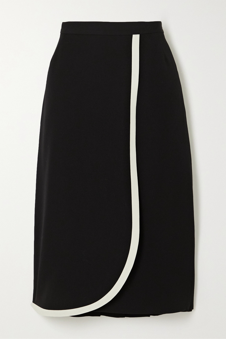 Alessandra Rich Wrap-effect two-tone wool skirt