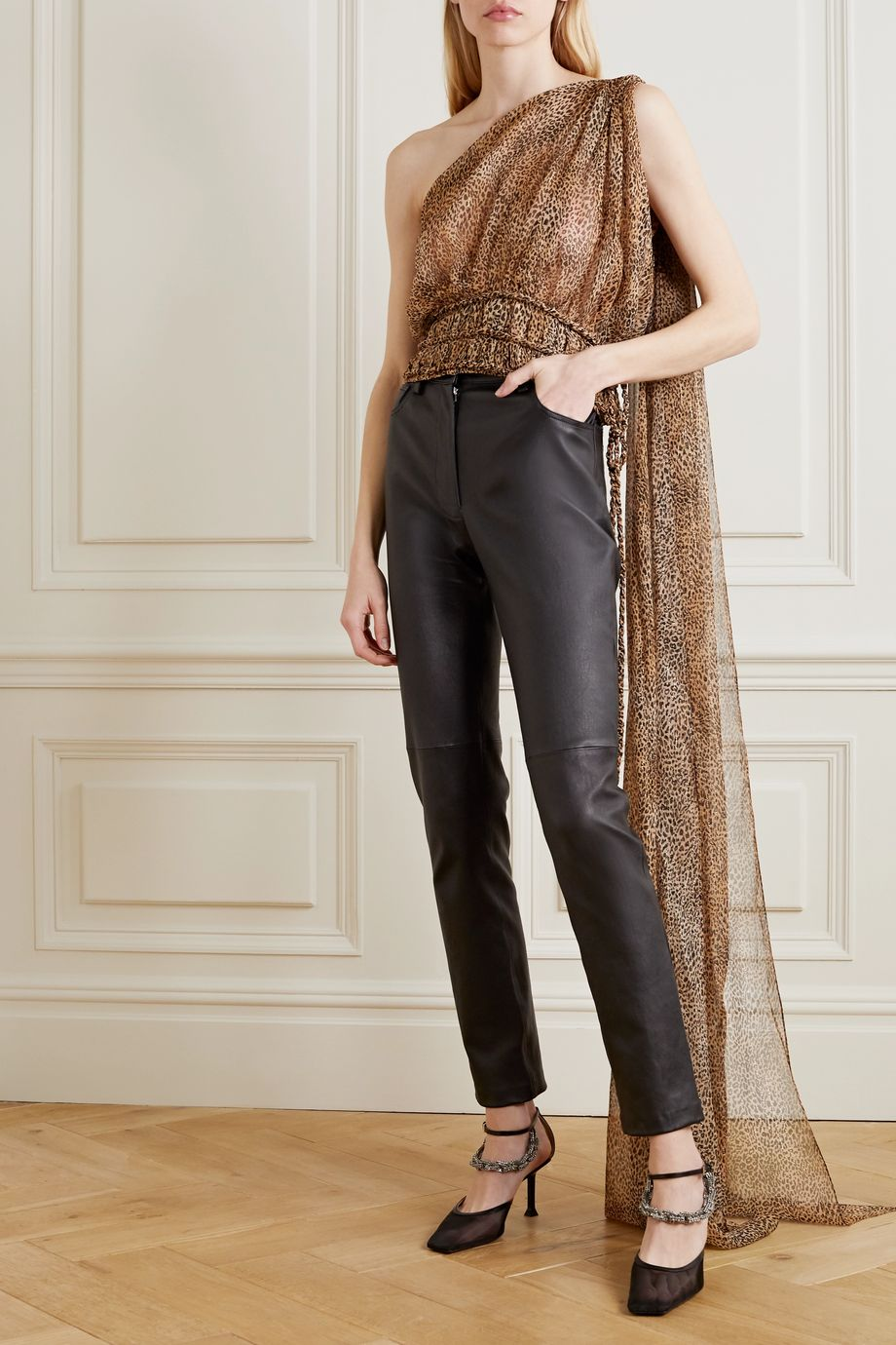Redemption One-shoulder draped leopard-print silk-blend chiffon top