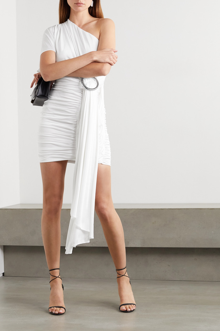 Redemption One-shoulder draped jersey mini dress