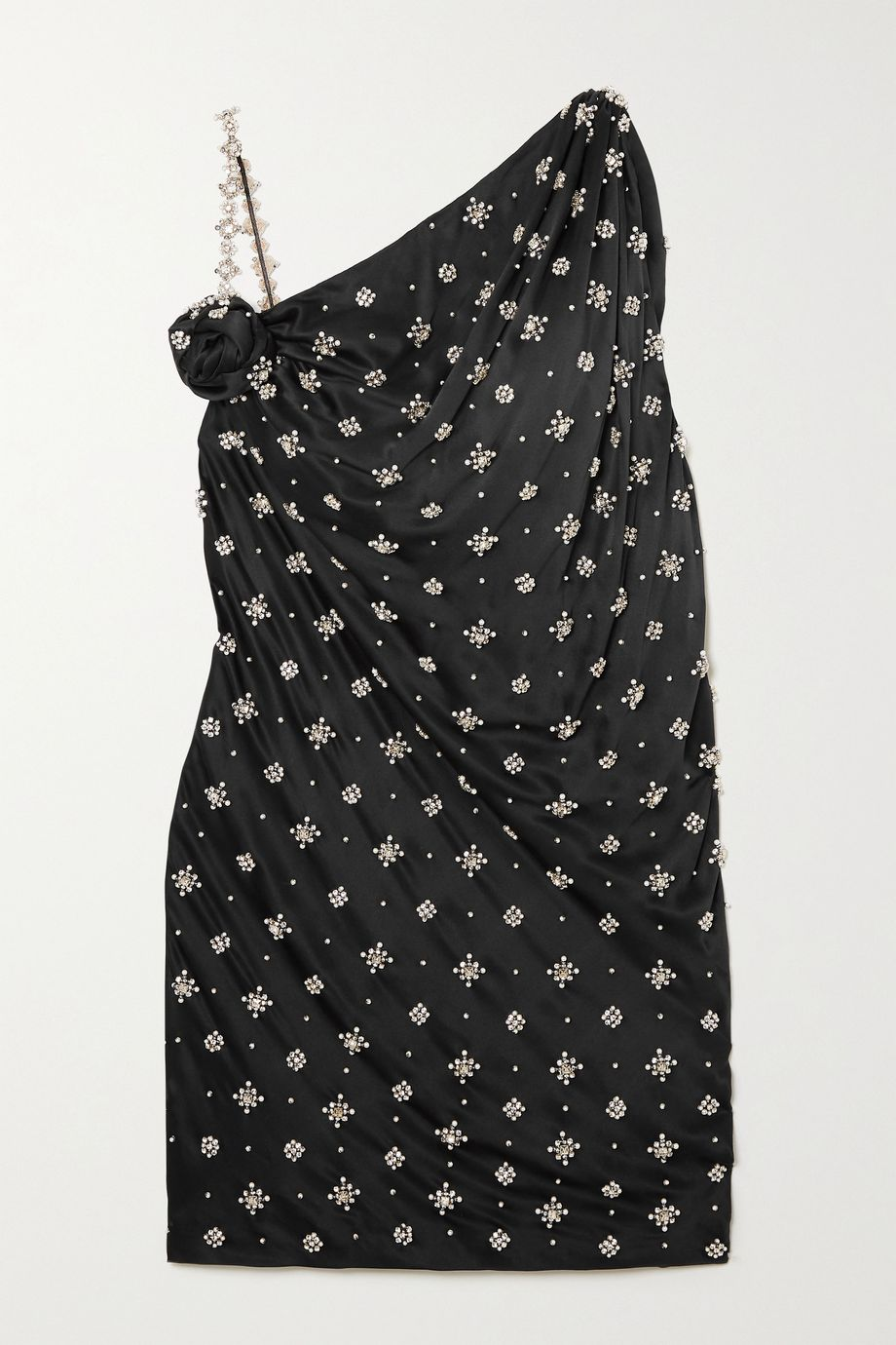 Redemption Asymmetric faux pearl and crystal-embellished silk mini dress