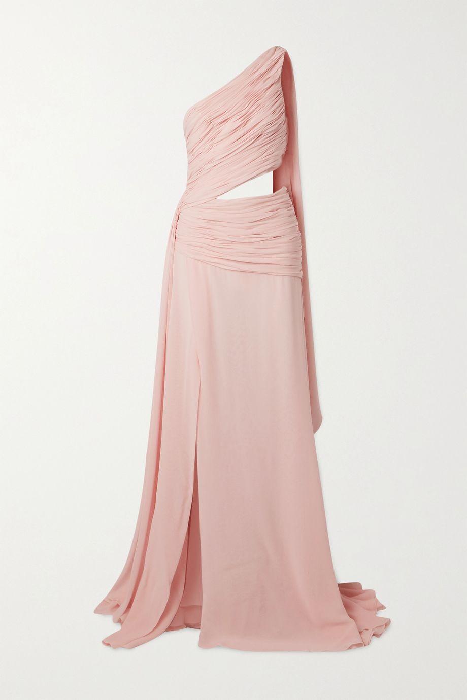 Redemption One-shoulder draped cutout silk-chiffon maxi dress