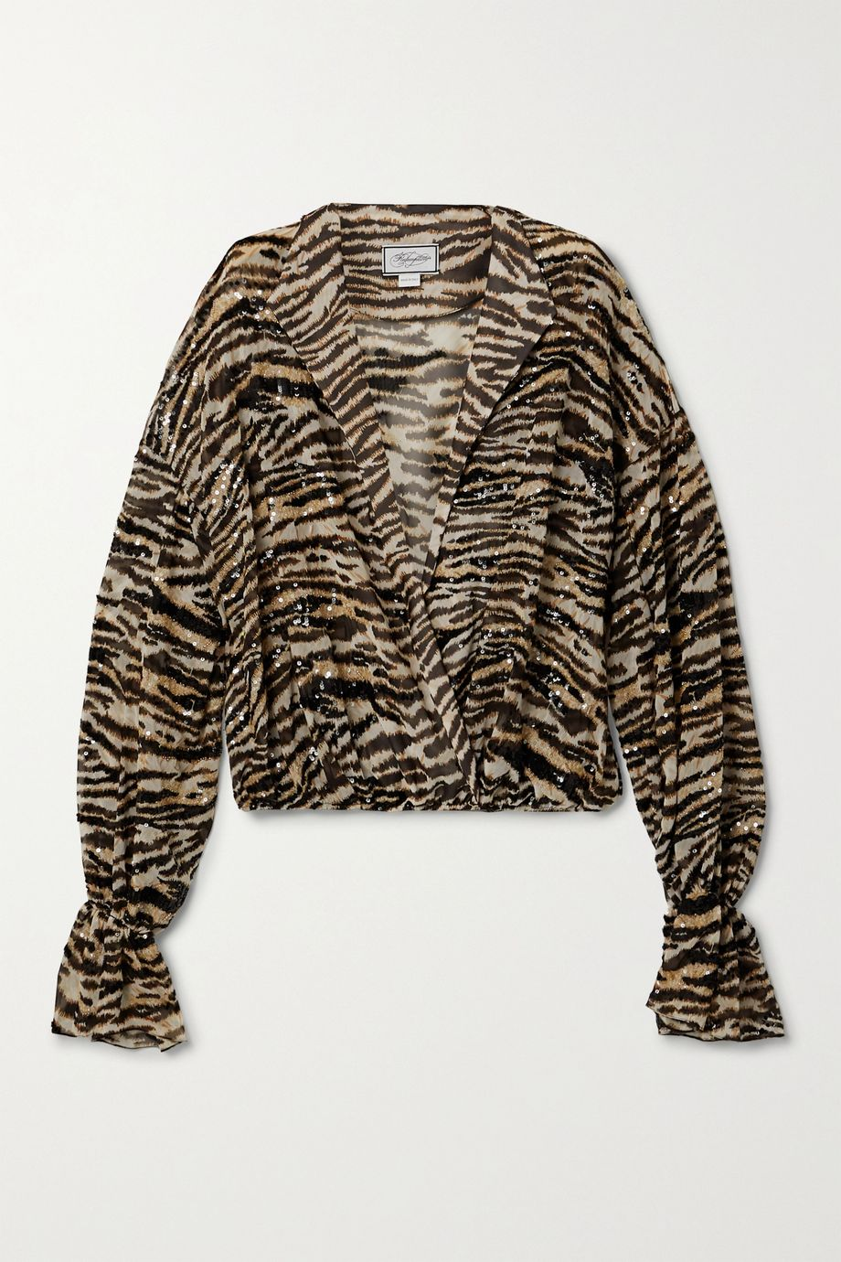 Redemption Sequin-embellished tiger-print chiffon blouse
