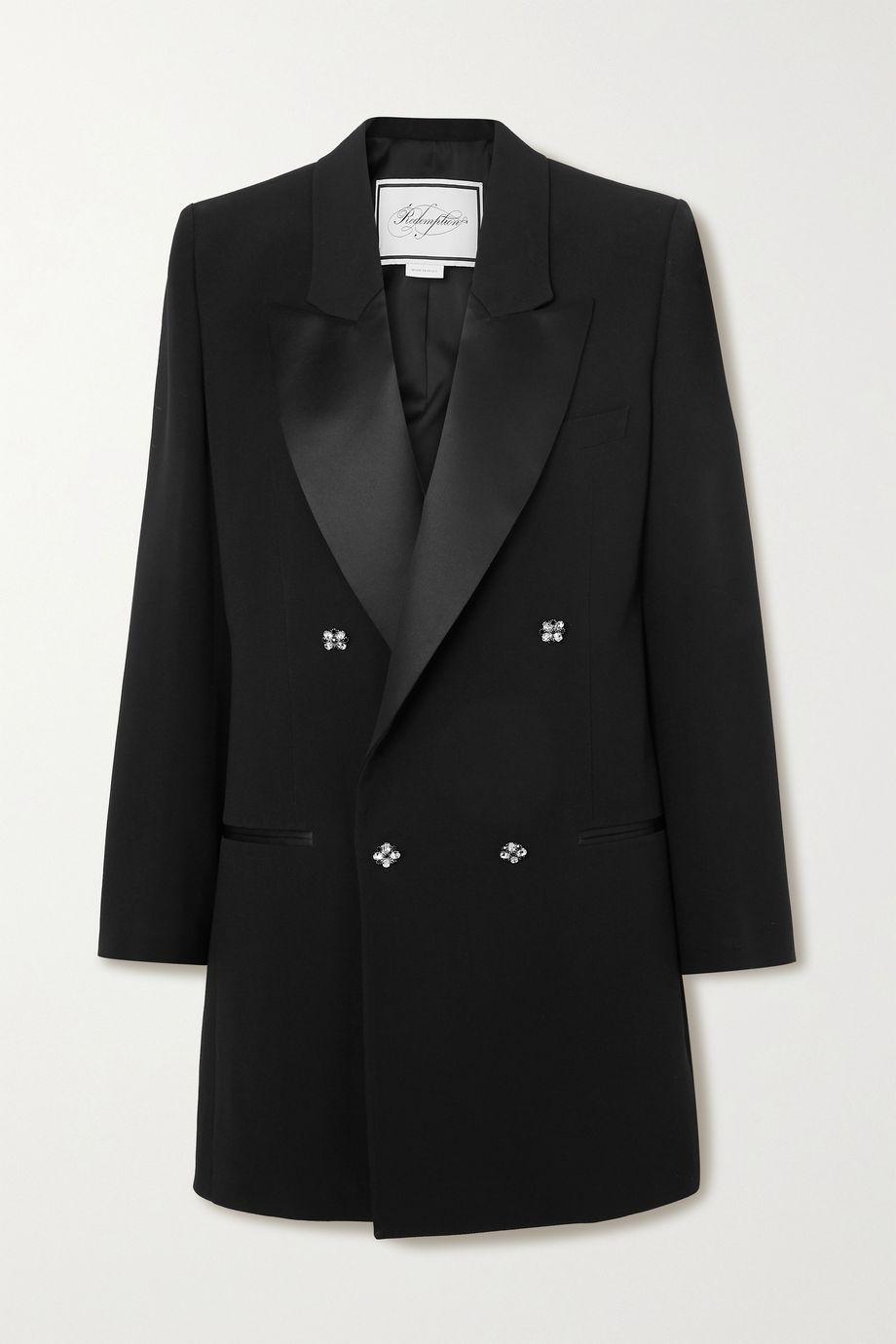 Redemption Satin-trimmed crystal-embellished crepe blazer