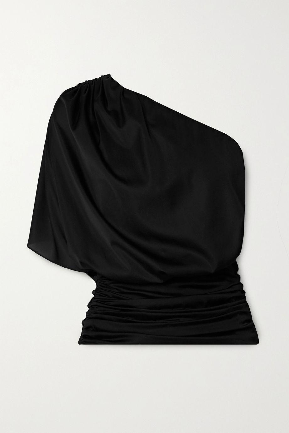 Redemption One-shoulder gathered silk-blend satin top
