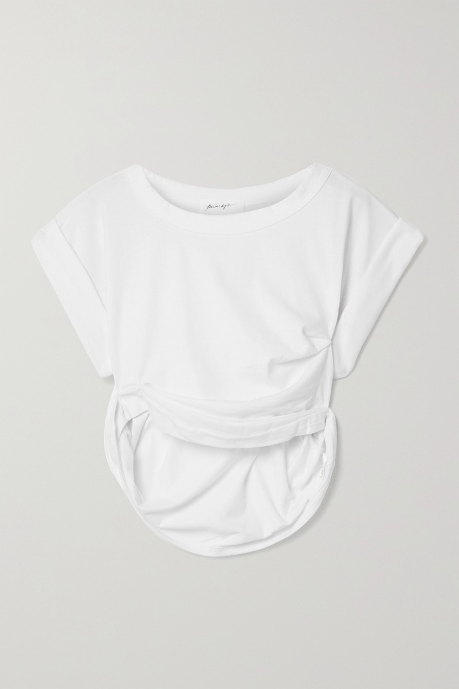 The Line By K Joseph cropped gathered cotton-blend jersey T-shirt