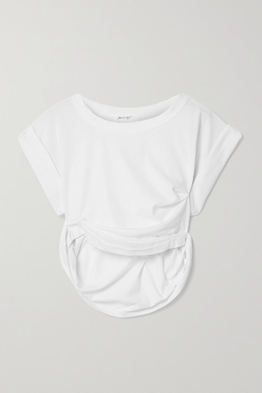 The Line By K  T-shirt raccourci en jersey de coton mélangé à fronces Joseph