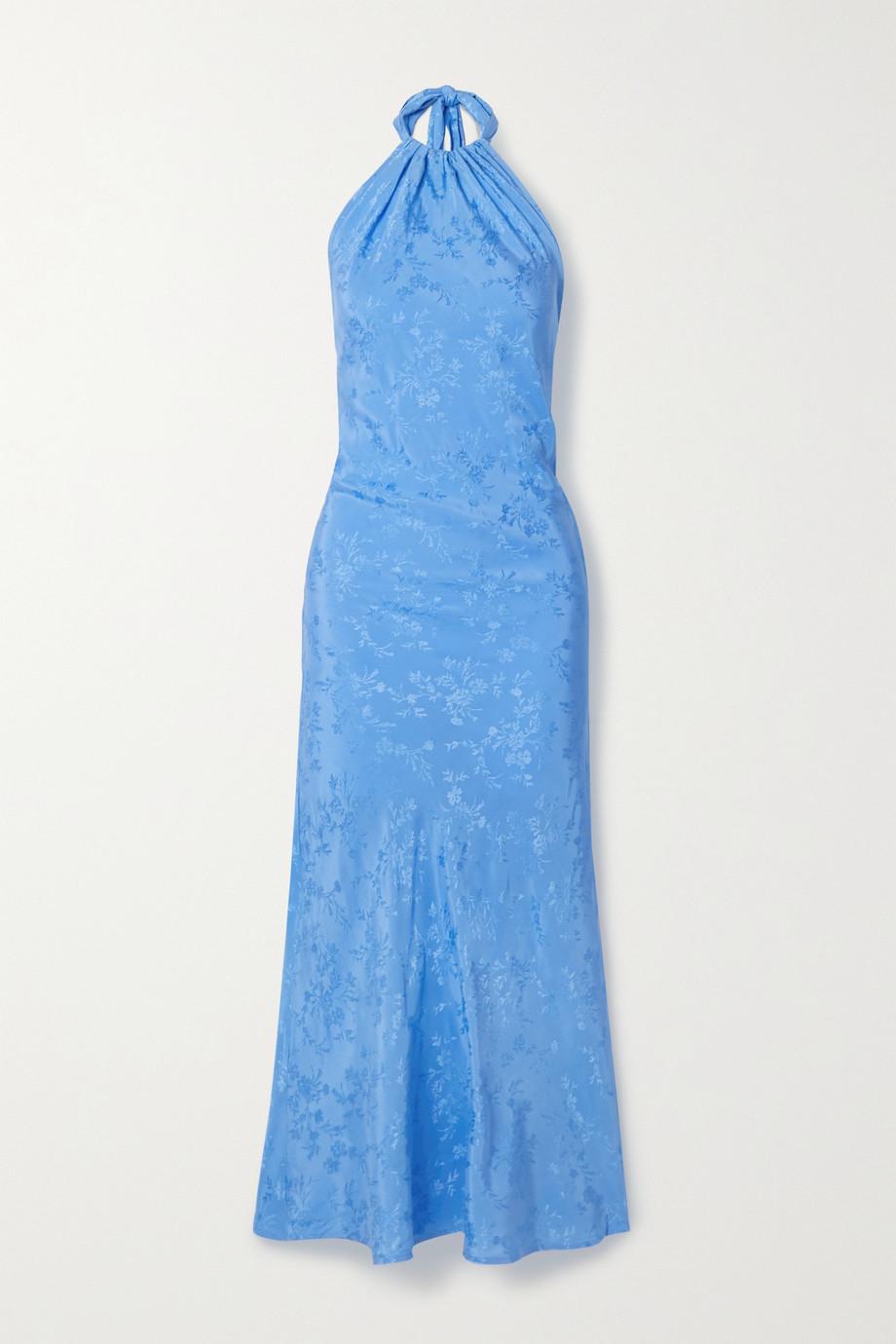The Line By K Belle satin-jacquard halterneck maxi dress