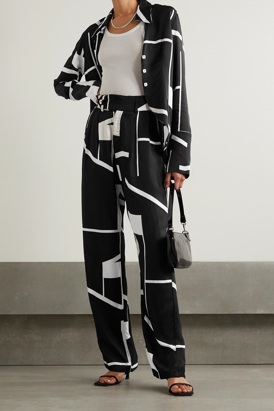 The Line By K Bettina printed twill wide-leg pants