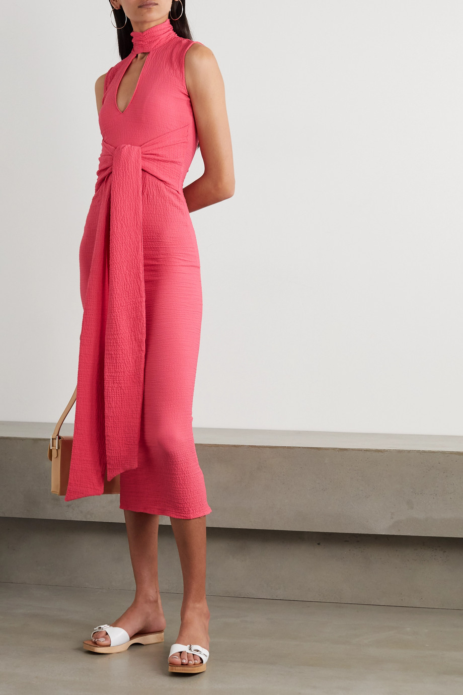The Line By K Quincy belted cutout cloqué turtleneck midi dress