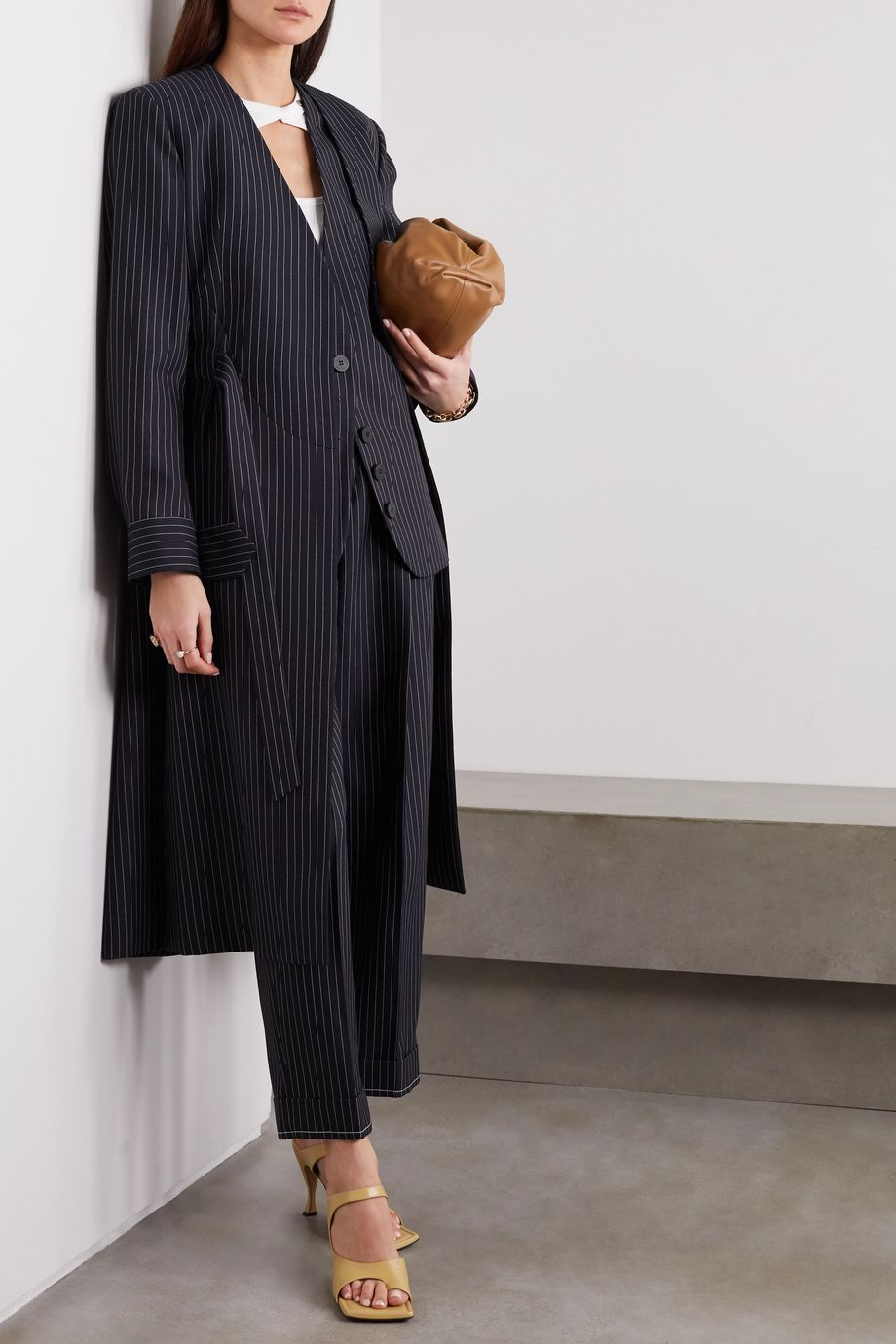 Chloé Belted pinstriped wool coat