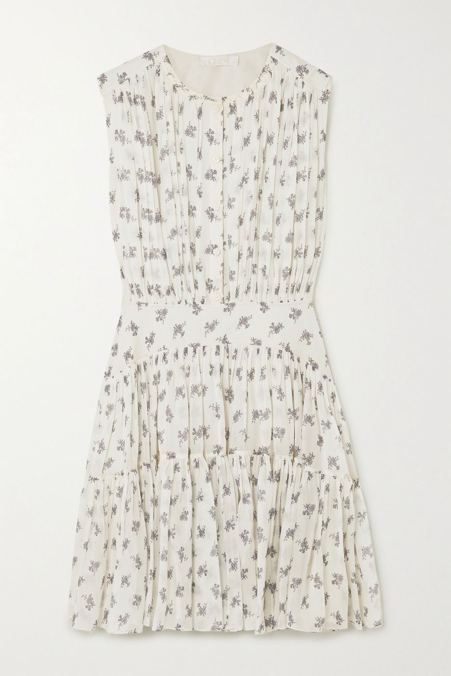 Chloé Floral-print silk-georegette mini dress