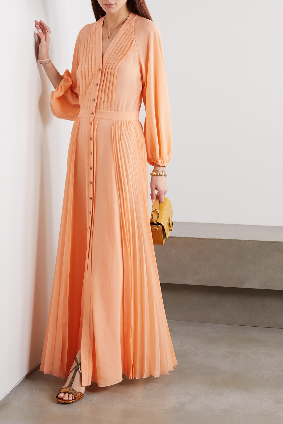 Chloé Pleated silk-georgette maxi dress