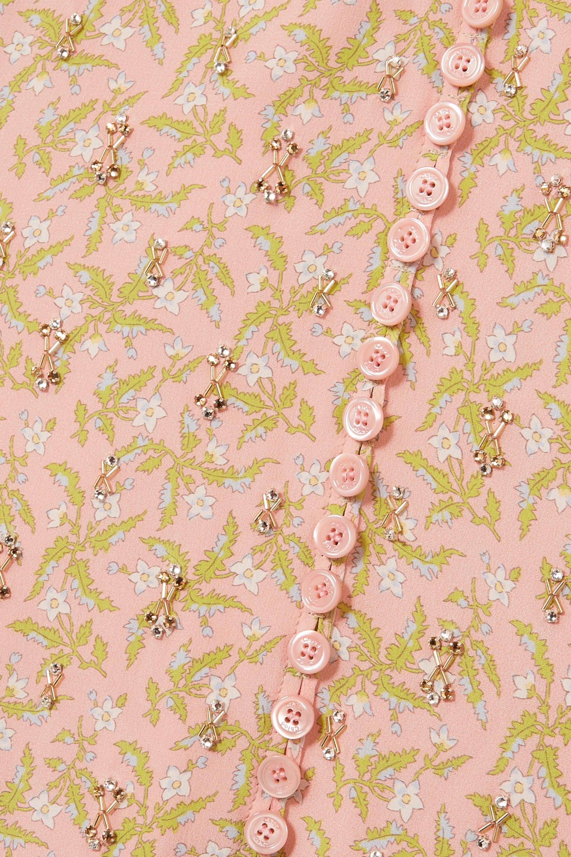 Chloé Maxikleid aus Crêpe de Chine aus Seide mit Blumenprint, Raffungen und Verzierungen