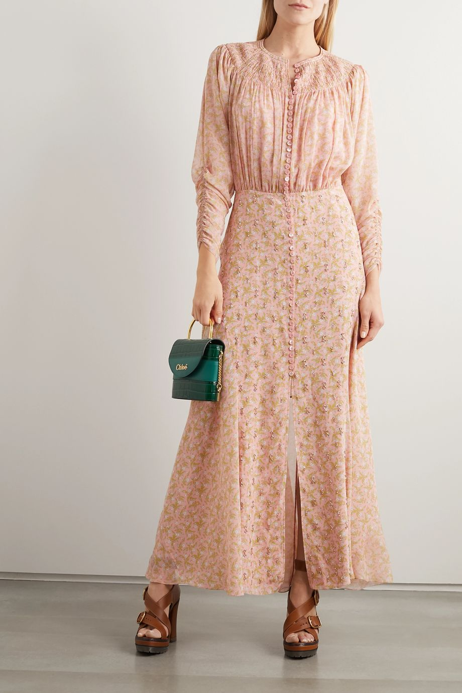Chloé Embellished smocked floral-print silk crepe de chine maxi dress